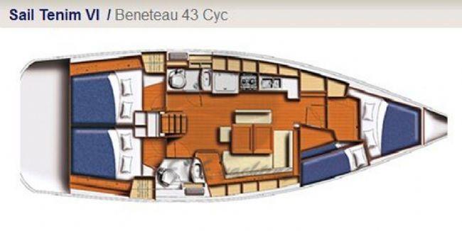 BENETEAU CYCLADES 43 Yat Planı